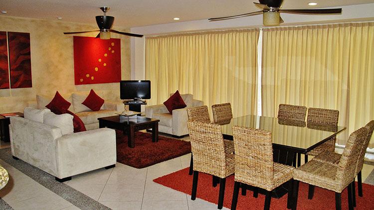 Living and dinning Area View Villa Magna Ground Floor Condominium Beach-Front Nuevo Vallarta