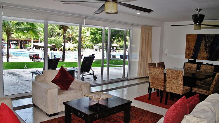 Living Area Pool View Villa Magna Ground Floor Condominium Beach-Front Nuevo Vallarta