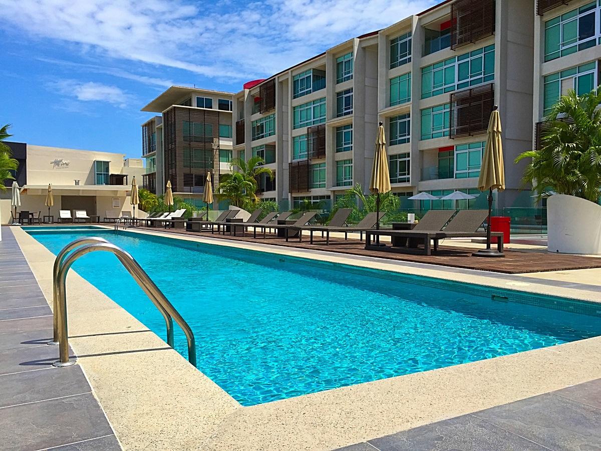 Pool And Building -2 Bedroom Condominium In 3.14 Living Nuevo Vallarta.JPG