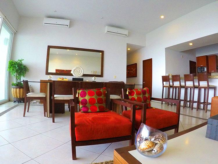 Sala y comedor Departamento en Venta Villa Magna Nuevo Vallarta Nayarit
