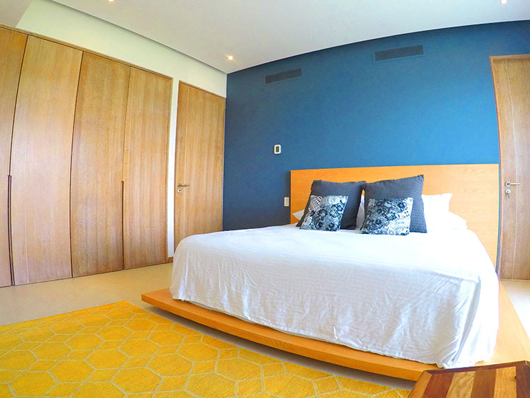 Bedroom with touch of blue and gray, Penthouse Beach-Front Peninsula Nuevo Vallarta Mexico