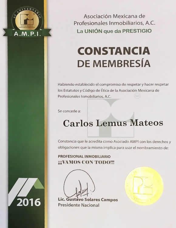 Constancia Membresia AMPI Profesional Inmobiliario Puerto Vallarta