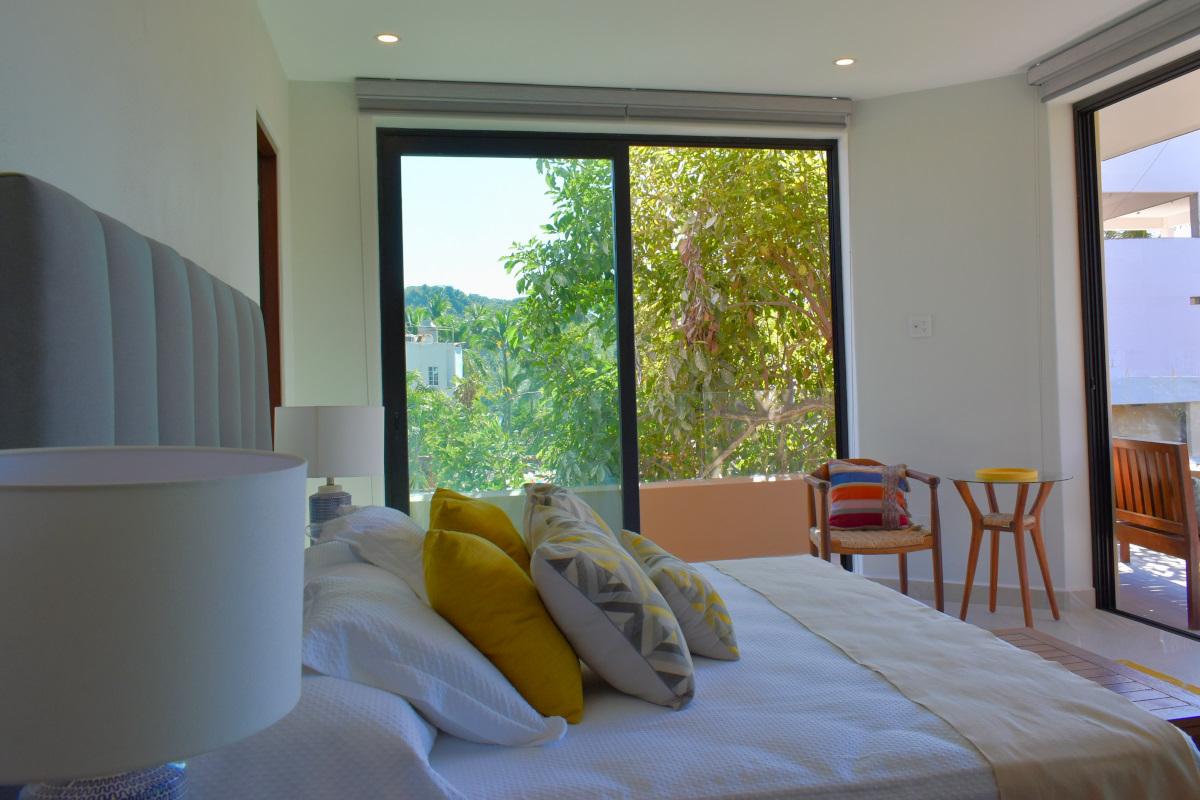 Decoración habitación Condominio en venta frente a la playa San Pancho Nayarit