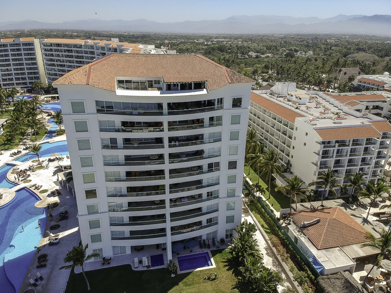 Drone shot Beachfront Penthouse Luxury Condo Nuevo Vallarta