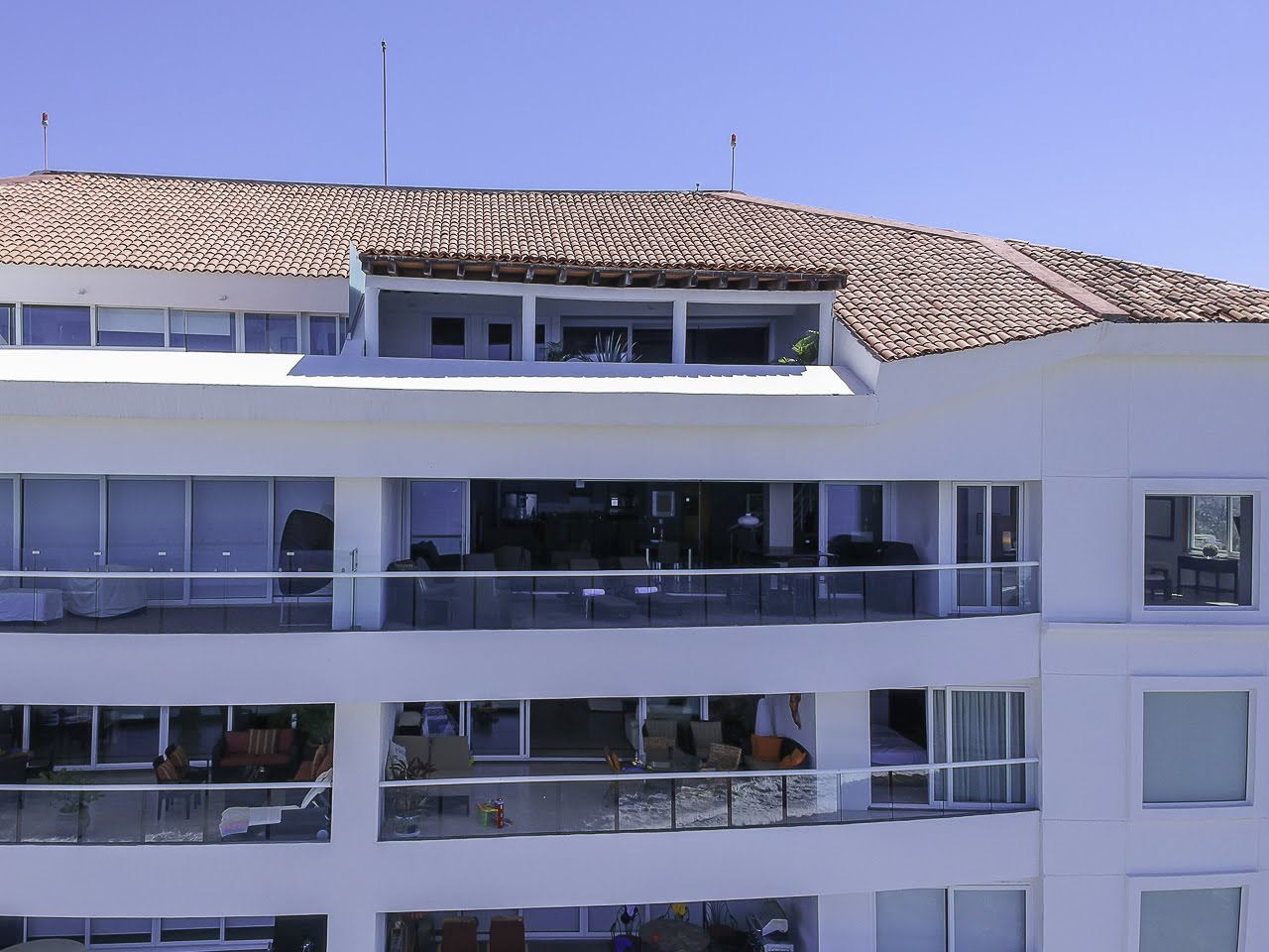 Drone shot Beachfront Penthouse Luxury Condo Nuevo Vallarta