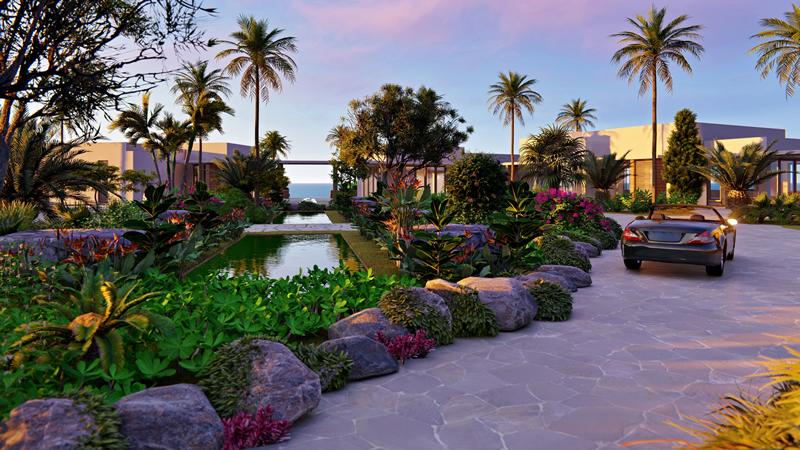 Entrada principal Villa frente al mar Susurros del Corazón