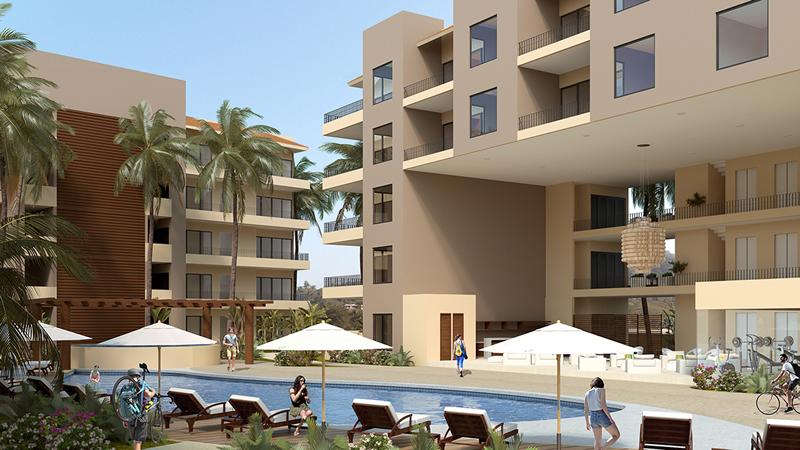Fachada edificio y alberca Condominio en venta Punta Paraíso San Pancho Riviera Nayarit