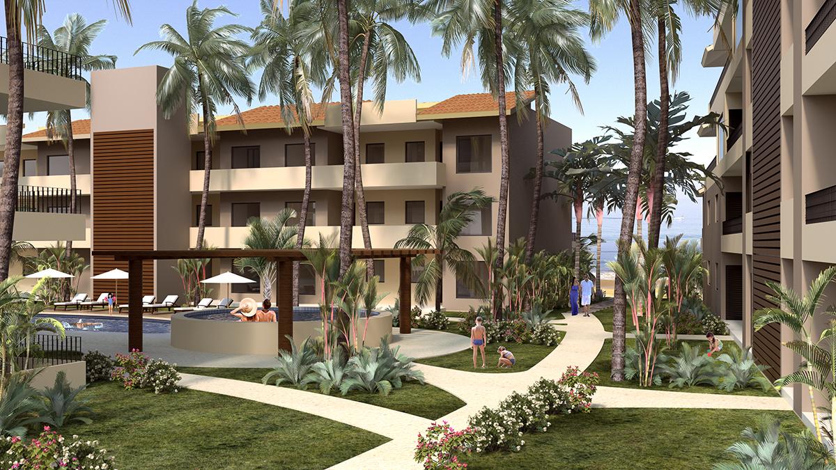 Fachada edificio uno Punta Paraíso playa San Pancho Nayarit México