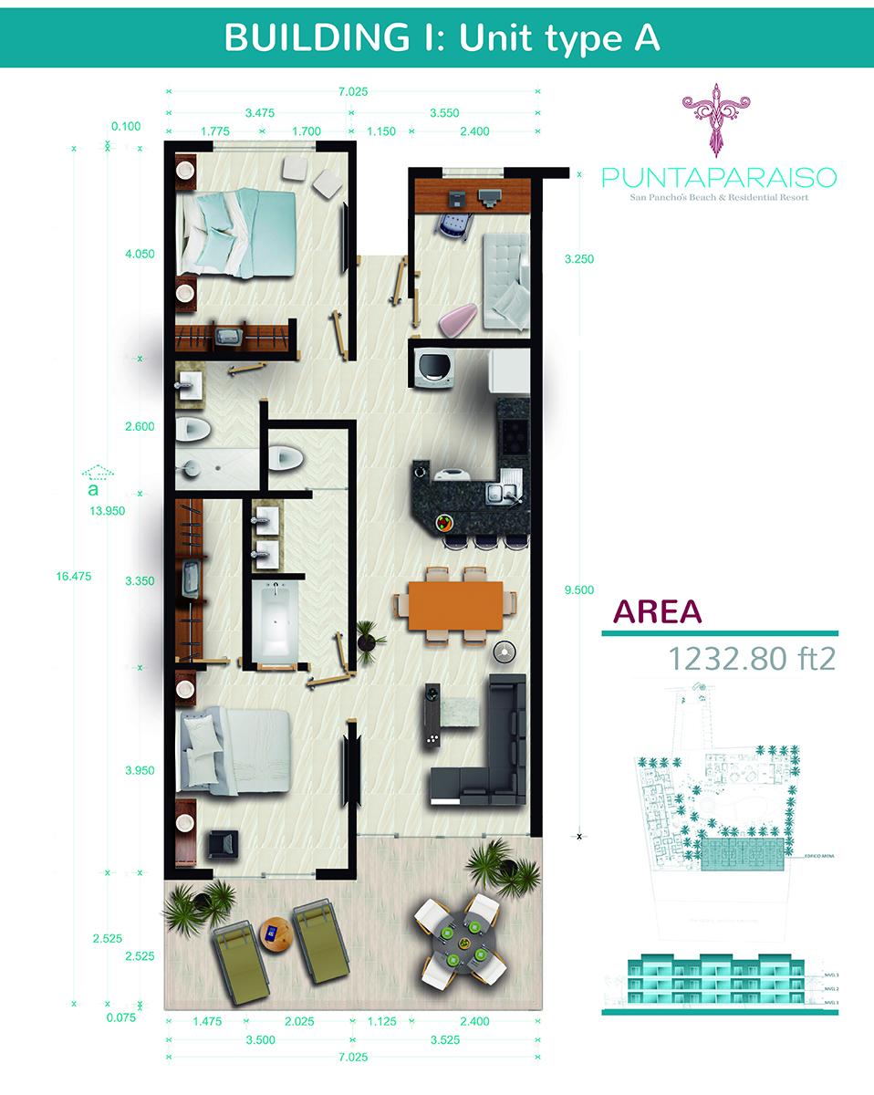 Floor plane Phase I beach 2 bedroom Condominium plus Flex Room Punta Paraiso San Pancho Riviera Nayarit Mexico
