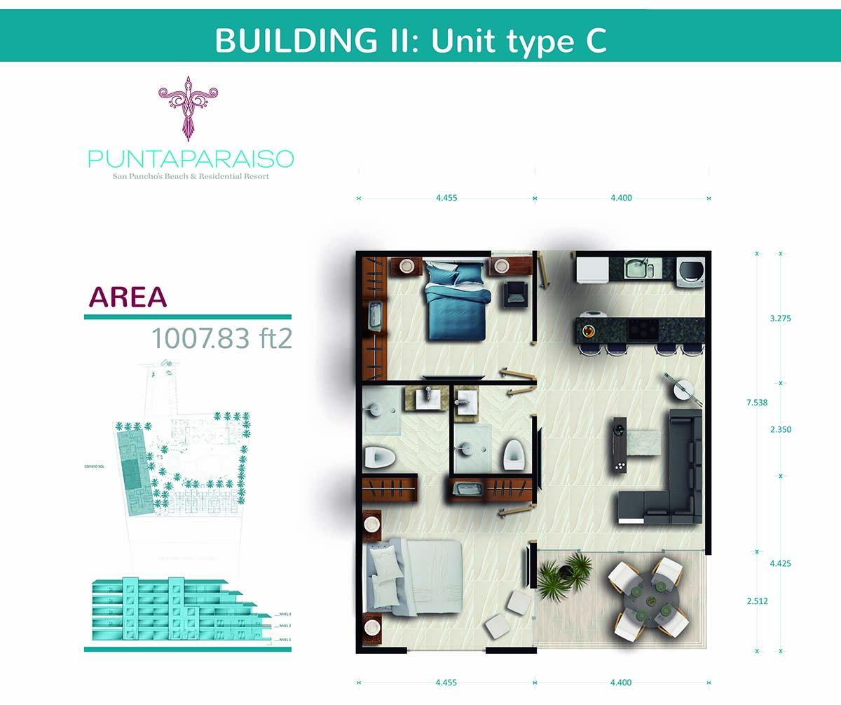 Floor plane phase II 2 bedroom Condominium Punta Paraíso San Pancho Riviera Nayarit Mexico