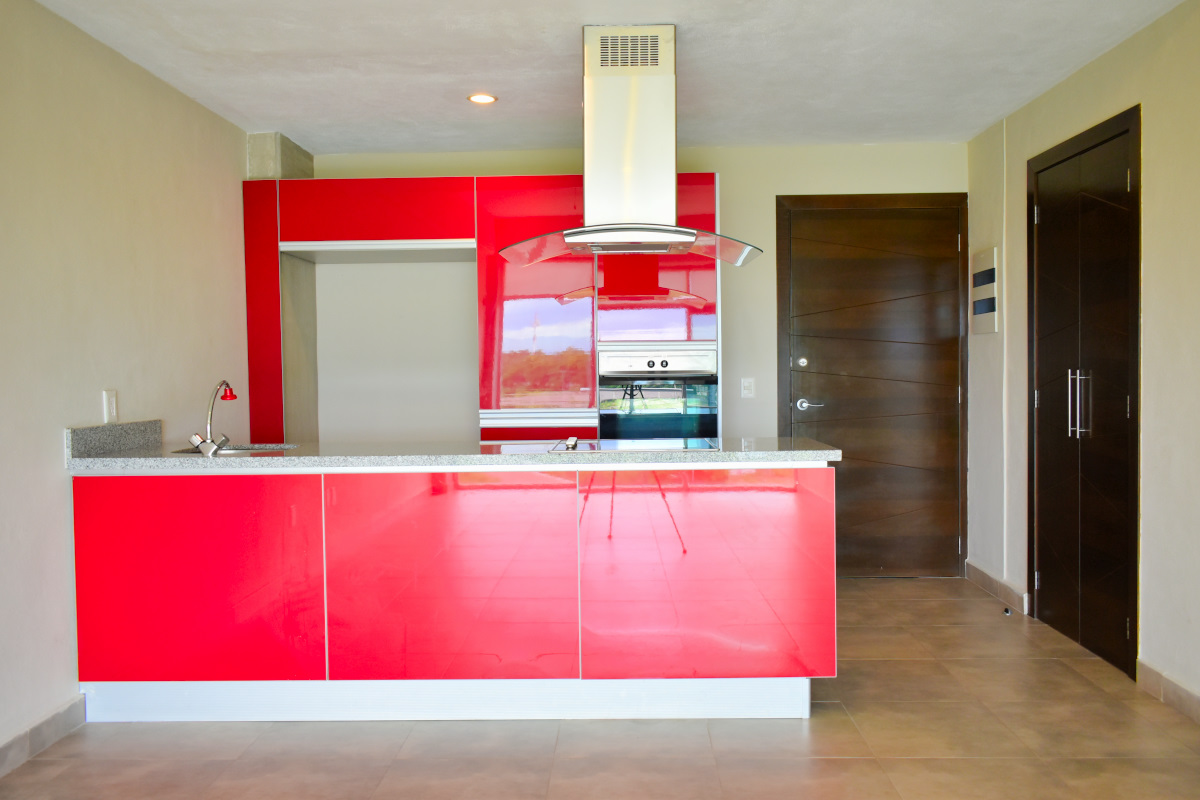 Cocina integral Departamento 3.14 Living Nuevo Vallarta