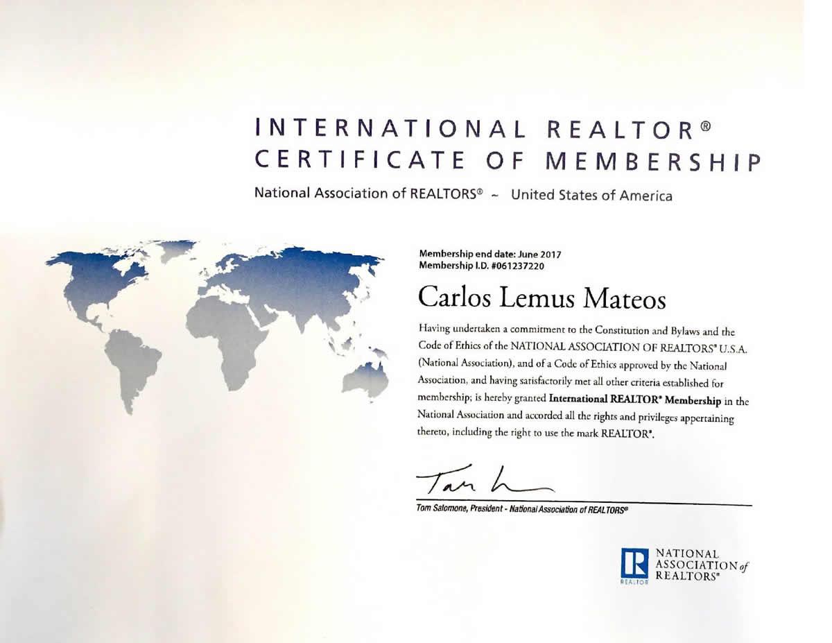 International Realtor Certificate Carlos Lemus Puerto Vallarta Real Estate
