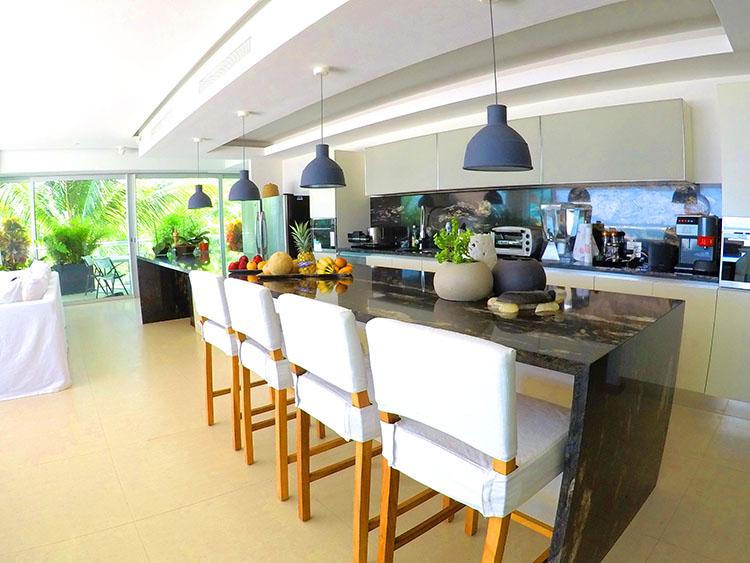 Large Breakfast Bar with granite countertops-Penthouse Beach-Front Peninsula Nuevo Vallarta Mexico