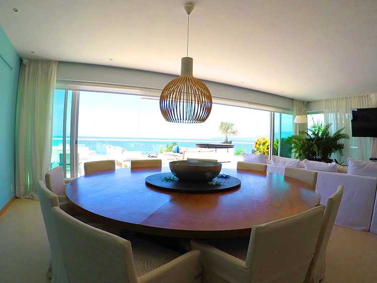 Large Round Dining Table-Penthouse Beach-Front Peninsula Nuevo Vallarta Mexico
