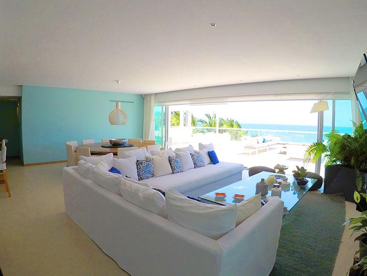 Living Room Penthouse Beach Front Peninsula Nuevo Vallarta Mexico
