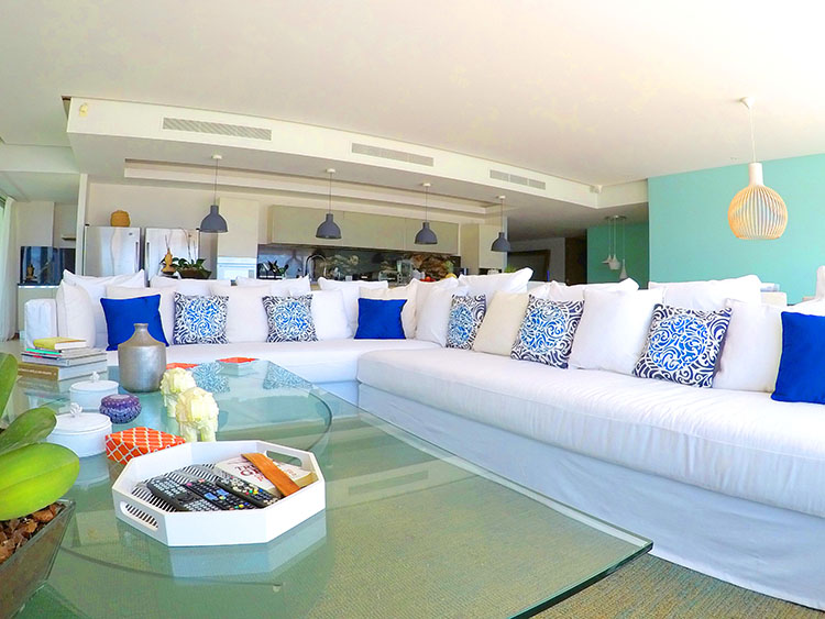 Living High end White Sofas, Penthouse Beach-Front-Peninsula Nuevo Vallarta Mexico
