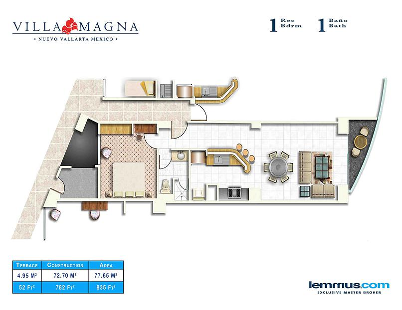 1 baño 1 recamara Plano de Unidades Desarrollo Villa Magna en Nuevo Vallarta