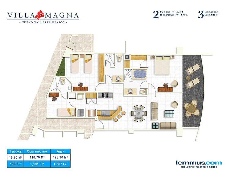 3 baños 2 recámaras mas estudio Plano de Unidades Desarrollo Villa Magna en Nuevo Vallarta
