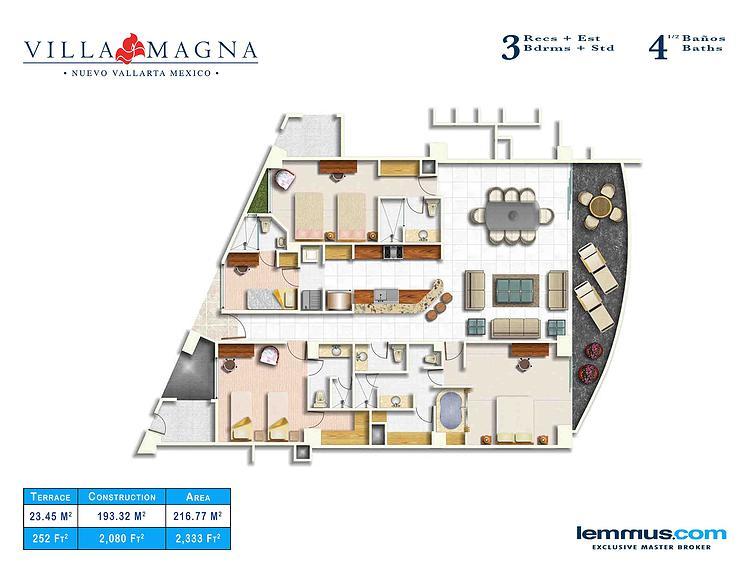 3 recámaras mas estudio 4 baños Plano de Unidades Desarrollo Villa Magna en Nuevo Vallarta
