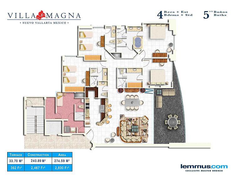 4 recamaras mas estudio 5 baños 3 recámaras mas estudio 4 baños Plano de Unidades Desarrollo Villa Magna en Nuevo Vallarta
