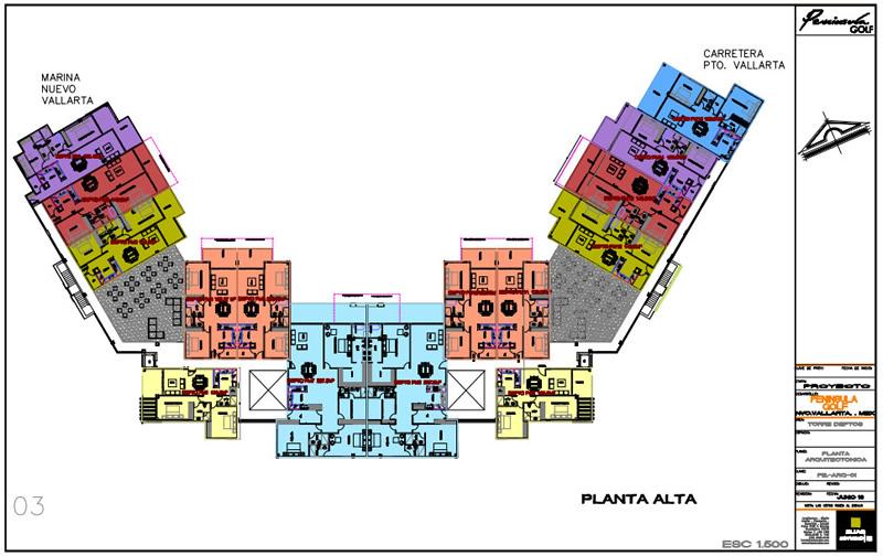Plano planta alta Cuadro en recamara Condominio Península Golf en Nuevo Vallarta
