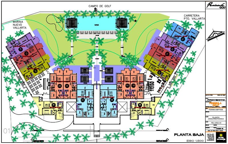 Plano planta baja Cuadro en recamara Condominio Península Golf en Nuevo Vallarta