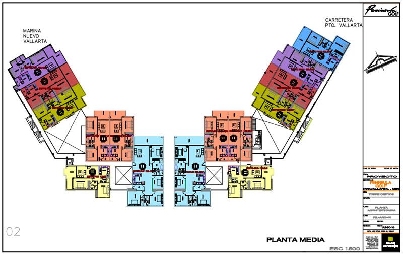 Plano planta media Cuadro en recamara Condominio Península Golf en Nuevo Vallarta