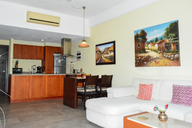 Sala y comedor Condominio amueblado en venta Living 3.14 Nuevo Vallarta