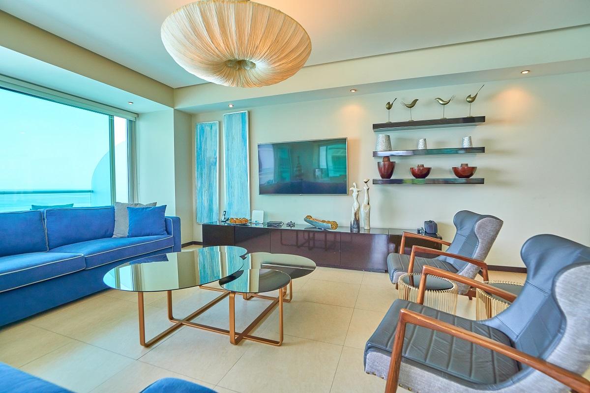 Sala de estar Península Puerto Vallarta Condominio en venta