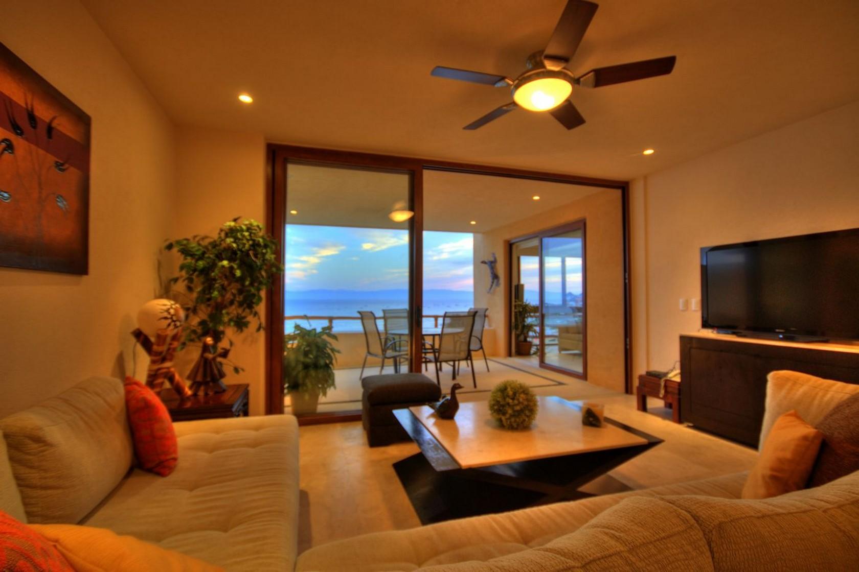 Sala terraza Departamento en venta Punta Esmeralda Resort La Cruz de Huanacaxtle