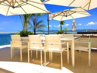Outdoor Dining Table-Ocean Front Corner Penthouse In Peninsula Nuevo Vallarta