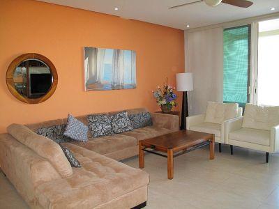 Decoración sala Desarrollo Península Golf Condominio en venta, El Tigre, Nuevo Vallarta, Nayarit, México