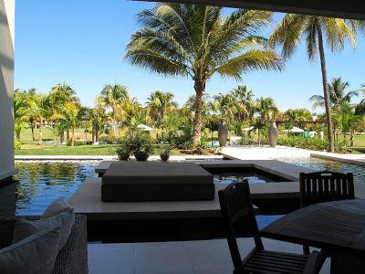 Vista piscina Desarrollo Península Golf Condominio en venta, El Tigre, Nuevo Vallarta, Nayarit, México
