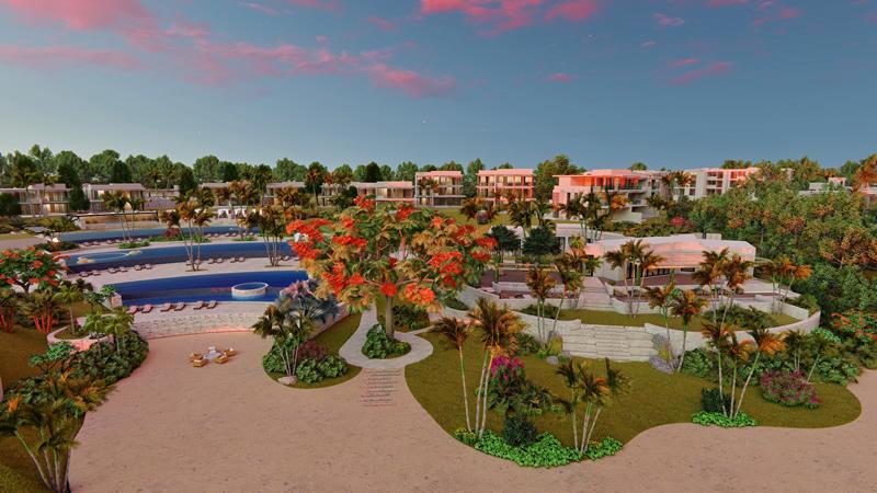Vista frontal Villa frente al mar Susurros del Corazón