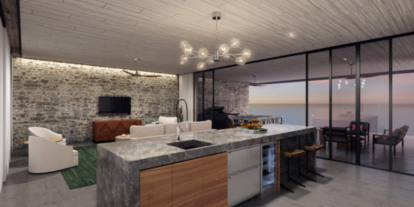 Cocina y sala vista al mar Desarrollo Susurros del Corazón Punta de Mita México