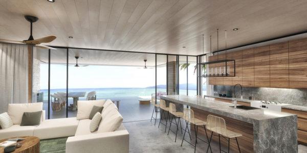Terraza y sala vista al mar Desarrollo Susurros del Corazón Punta de Mita México